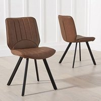 Damont Brown Faux Leather Dining Chairs In A Pair