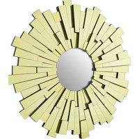 Product photograph showing Dania Glitzy Large Circular Sunburst Design Wall Mirror In Gold