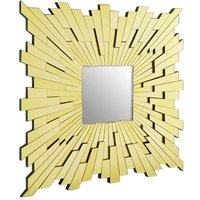 Product photograph showing Dania Glitzy Large Square Contemporary Wall Mirror In Gold