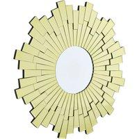 Product photograph showing Dania Glitzy Small Circular Sunburst Design Wall Mirror In Gold