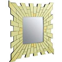 Product photograph showing Dania Glitzy Small Square Contemporary Wall Mirror In Gold