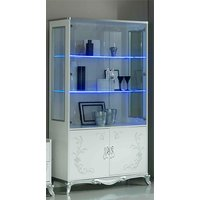 Product photograph showing Daniela Gloss Display Cabinet In White And Silver With 4 Doors And Led