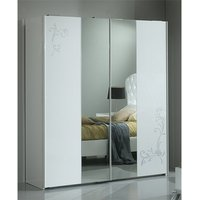 Product photograph showing Daniela Sliding 2 Doors Wardrobe In White High Gloss And Silver