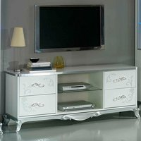 Product photograph showing Daniela Tv Stand In White High Gloss And Silver With 4 Drawers