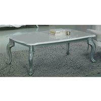 Product photograph showing Daniela Wooden Coffee Table In White High Gloss And Silver