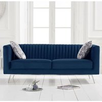 Product photograph showing Danielle Velvet 2 Seater Sofa In Blue
