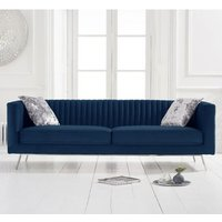 Product photograph showing Danielle Velvet 3 Seater Sofa In Blue