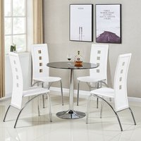 Dante Glass Dining Table In Black With 4 Bellini White Chair