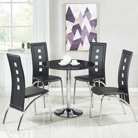 Dante Glass Dining Table In Black With 4 Bellini Chairs