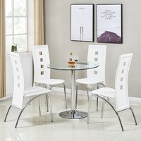 Dante Glass Dining Table In Clear With 4 Bellini White Chair