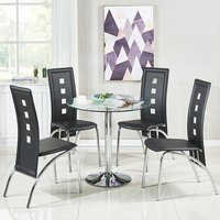 Dante Glass Dining Table In Clear With 4 Bellini Black Chair