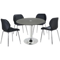 Dante Glass Dining Table In Black With 4 Darcy Chairs