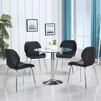 Product photograph showing Dante Glass Dining Table In Clear With 4 Black Dinky Chairs