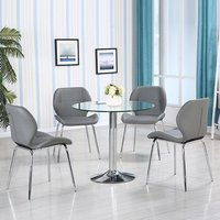 Product photograph showing Dante Glass Dining Table In Clear With 4 Grey Dinky Chairs