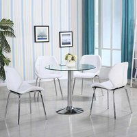 Product photograph showing Dante Glass Dining Table In Clear With 4 White Dinky Chairs