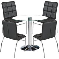 Dante Round Glass Dining Set With 4 Black PU Leather Coco Ch