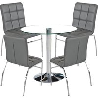 Dante Round Glass Dining Set With 4 Grey PU Leather Coco Cha