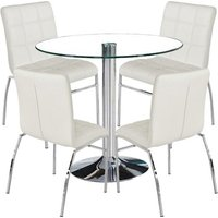 Dante Round Glass Dining Set With 4 White PU Leather Coco Ch