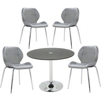 Dante Glass Dining Table In Black With 4 Darcy Grey Chairs