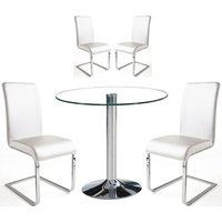 Dante Dining Table In Clear Glass With 4 Lotte White Chairs