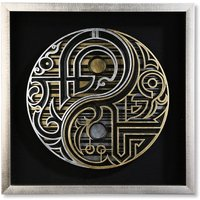 Product photograph showing Dao Glass 3d Yin-yang Look Wall Art In Silver Wooden Frame
