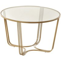 Product photograph showing Darla Round Glass Coffee Table With Gold Metal Base