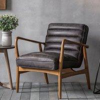 image-Datsun Leather Bedroom Armchair In Antique Ebony