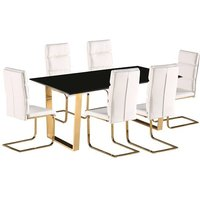efadbf399c1e Product photograph showing Daviel Dining Table In Black Gloss With Six  White Dining Chairs