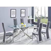 Product photograph showing Daytona Glass Dining Table With 6 Chicago Grey Leather Chairs