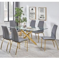 Daytona Clear Glass Large Dining Table With Six Opal Grey Chairs
