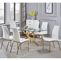 Daytona Clear Glass Large Dining Table With Six Opal White Chair