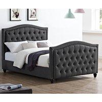 Daytona Linen Fabric King Size Bed In Grey