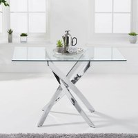Product photograph showing Daytona Rectangular Glass Dining Table In Clear With Chrome Legs