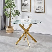 Daytona Round Clear Glass Dining Table With Brushed Gold Legs