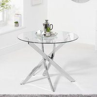 Product photograph showing Daytona Round Glass Dining Table In Clear With Chrome Legs