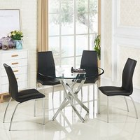 Daytona Round Glass Dining Table With 4 Opal Black Chairs