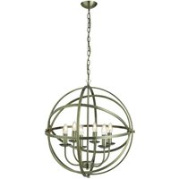 Dea Spherical Pendant Light In Antique Brass With 6 Lights