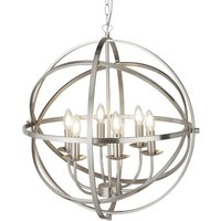 Dea Spherical Pendant Light In Satin Silver With 6 Lights