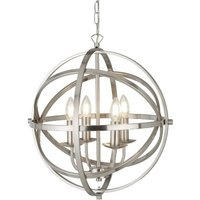 Dea Spherical Pendant Light In Satin Silver With 4 Lights