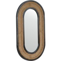 Product photograph showing Debby Wall Bedroom Mirror In Ash Black And Rattan Design Frame