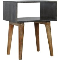 Product photograph showing Debby Wooden Open Bedside Cabinet In Ash Black And Oak Ish