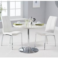 Product photograph showing Deborah Marble Dining Set In White With 2 White Naos Chairs