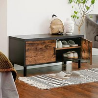 Decatur 2 Doors Shoe Storage Bench In Rustic Brown and Black