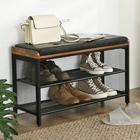 Decatur Leather Padded Seat Shoe Storage Bench In Rustic Brown