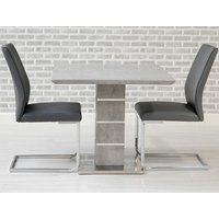 Product photograph showing Delta Square Dining Set With 2 Grey Seattle Chairs