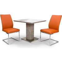 Product photograph showing Delta Square Dining Set With 2 Orange Seattle Chairs