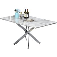 Product photograph showing Deltino Grey Marble Effect Dining Table With Chrome Legs