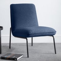 Product photograph showing Deltona Fabric Upholstered Bedroom Chair In Blue Wool Effect