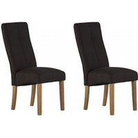 Product photograph showing Denver Black Fabric Dining Chair In A Pair