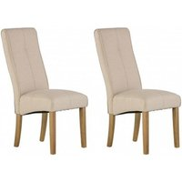 Product photograph showing Denver Natural Fabric Dining Chair In A Pair